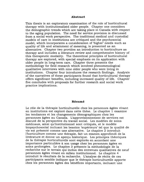 thesis abstract exploratory the role and application of horticultural therapy with
