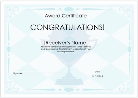 price winner award certificate template word excel
