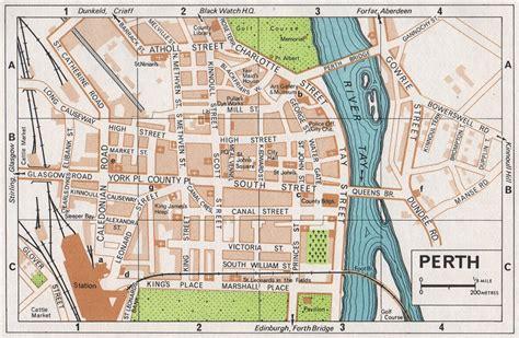 printable map perth city perth vintage town city map plan scotland 1967