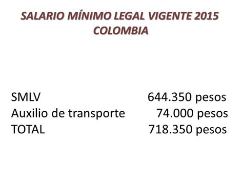 minimo legal vigente salario m 237 nimo legal vigente 2015 colombia auxilio de
