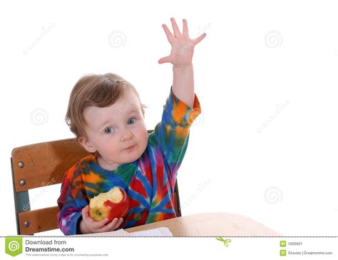 toddler sitting at school desk stock image image 1609901