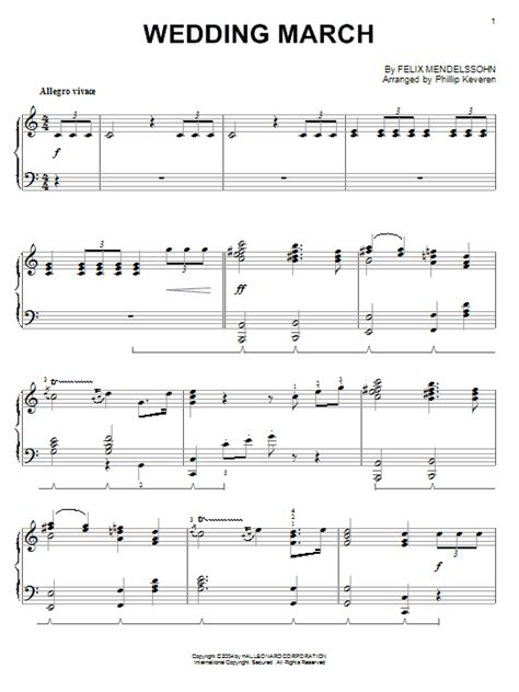 Wedding March Piano wedding march sheet direct