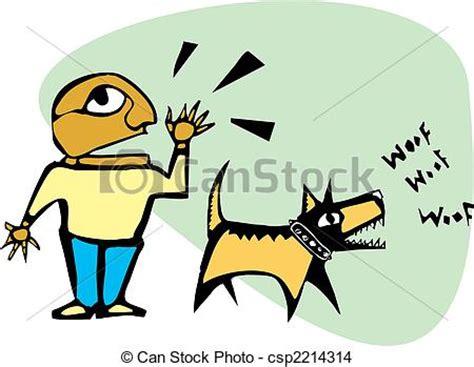 eps vector of barking dog man yelling while his dog is