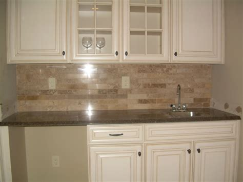 simple kitchen style ideas with brown marble subway tile