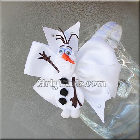White Snowman Hairclip olaf headband olaf ribbon sculpture hair clip frozen olaf