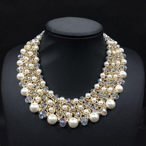 Kalung Cristal 3 Tingkat Fashion handwoven manik kalung mutiara untuk wanita