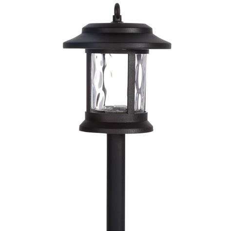 Walkway Lighting Fixtures Hton Bay Solar Black Outdoor Integrated Led Lantern Landscape Path Light With Hammered Water