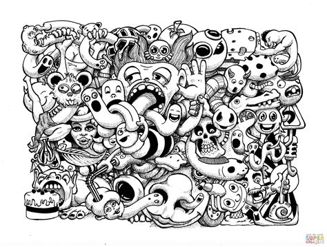 Doodle Art By Pierre Fihue Coloring Page Free Printable Doodle Coloring Pages To Print