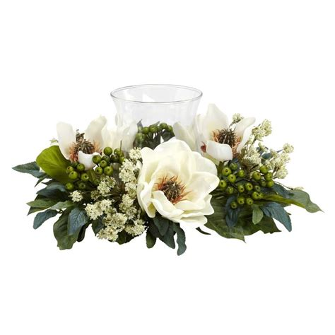 magnolia candelabrum silk flower arrangement p j home