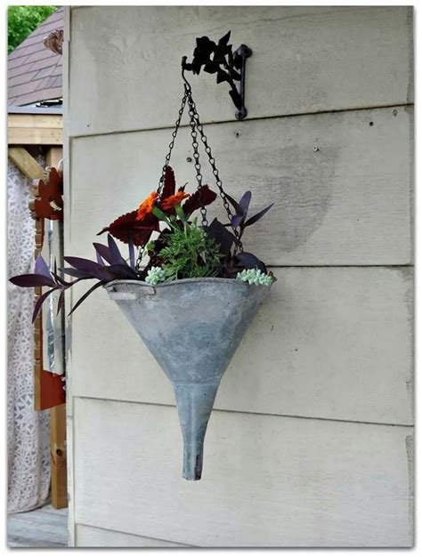 recycled funnel as hanging planter garden planters pots
