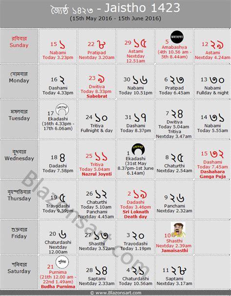 Bengali Calendar Bengali Calendar 1423 Panjika 1423 14th April 2016