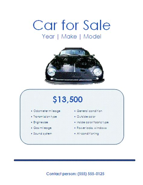 5 Free Car For Sale Flyer Templates Excel Pdf Formats Car Advertisement Template