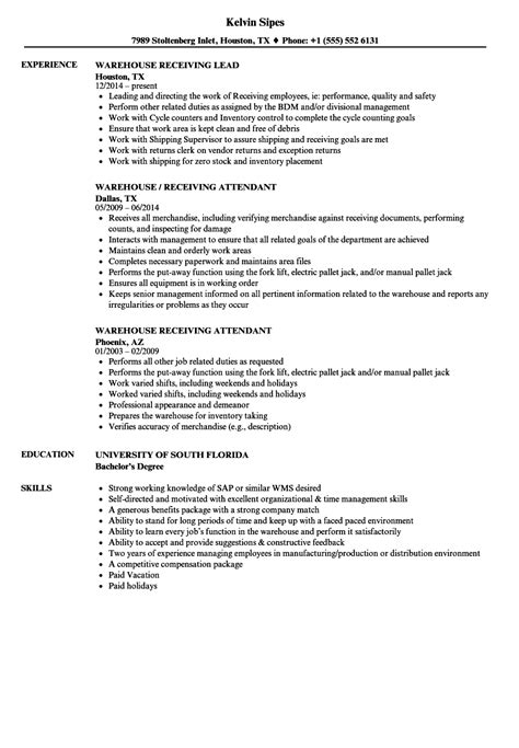 warehouse receiving resume sles velvet