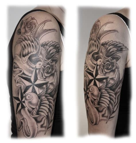 rose with stars tattoos ink nautical roses swallows etc
