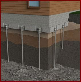 foundation sinking in one corner foundation settlement push piers and helical piers