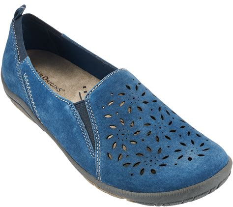 sugar shoes earth origins suede perforated slip on shoes sugar