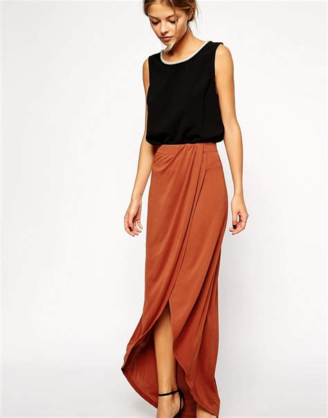 asos asos wrap maxi skirt in crepe at asos