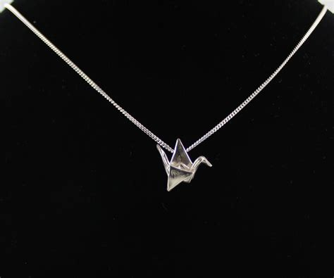 Origami Crane Necklace - small silver origami crane necklace s day gift