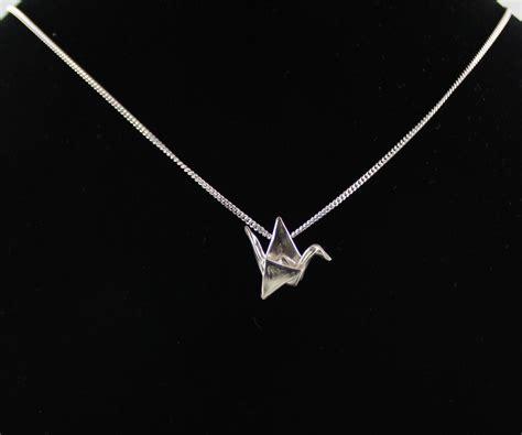 Silver Origami Crane Necklace - small silver origami crane necklace s day gift