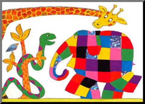 elmer and snake elmer with snake and giraffe mounted print poster and print