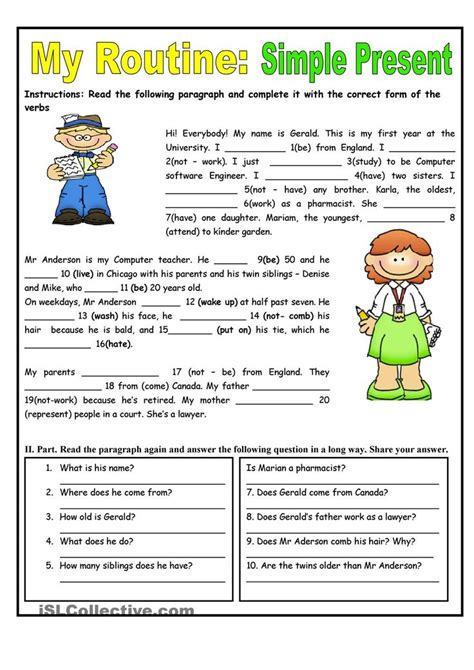 Simple Present Tense Worksheets my routine simple present tense worksheet