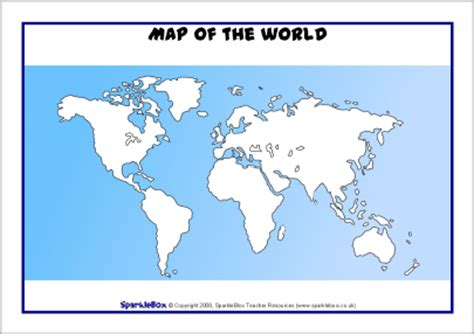 Printable World Map Sparklebox | map of the world ks2 blank