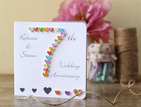 7 Year Wedding Anniversary Card by Handmade 3d 7th Wedding Anniversary Card Personalised