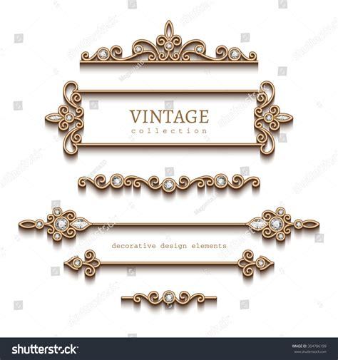 gold vintage design elements vector vintage gold jewelry vignettes dividers vector stock