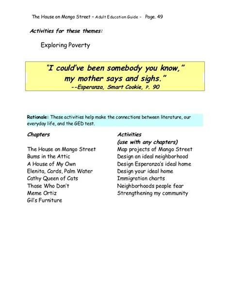 the house on mango street poverty theme house on mango street adult education guide 2008