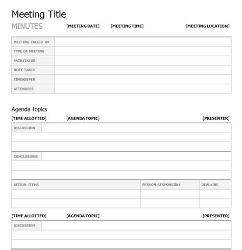 meeting template top 5 free meeting minutes templates word templates
