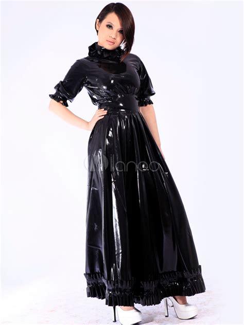 Halloween Women?s Shiny Black Catsuit Bodysuit Latex Dress
