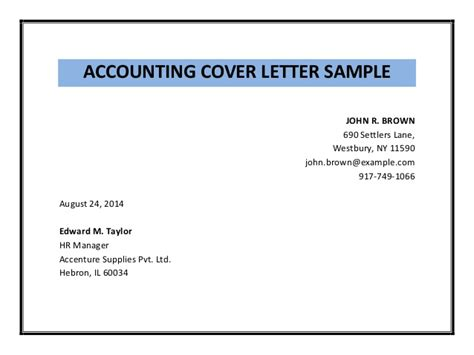 accounting cover letter sle pdf