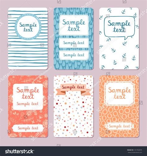 whatever you want card template set 6 vector illustrated cards templates stock vector