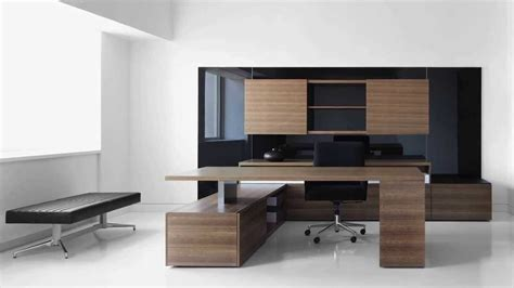 Modern Office Desk Outstanding High End Office Furniture With Wooden Desk Table And Black Bench Seat Idea High