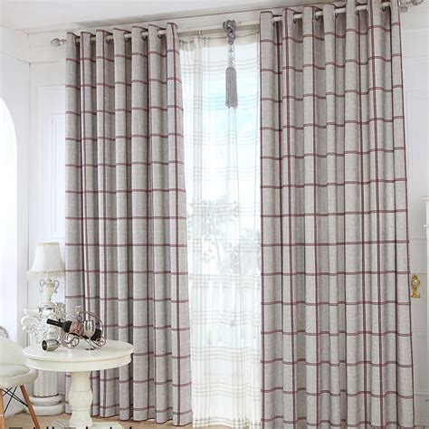 plaid curtains for living room quality linen jacquard gray living room plaid curtains