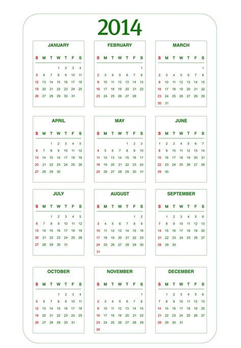 year calendar template 2014 6 best images of 2014 calendar printable page 2014