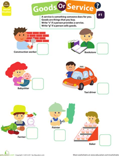Goods And Services Worksheets by Goods And Services 1 Worksheet Education