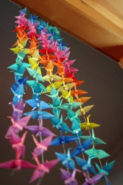 How Many Paper Cranes Did Sadako Make - 1000 paper cranes rainbow mobile things i could do or
