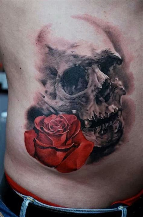 rose body tattoos skull tattoos skull