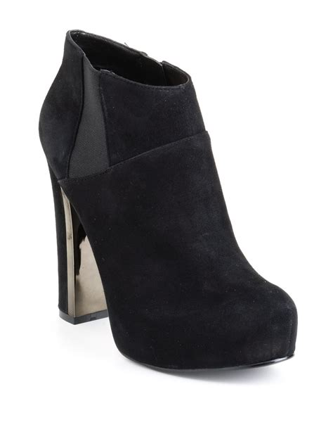 guess coreline platform ankle boots in black black suede