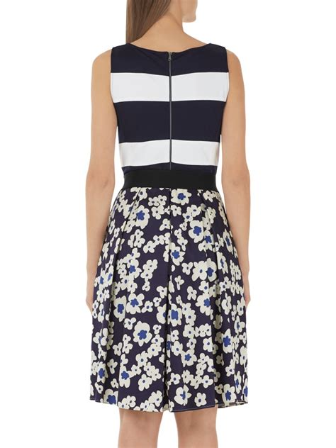 Flowers Stripe Dress marc cain floral stripe printed dress exclusive midnight