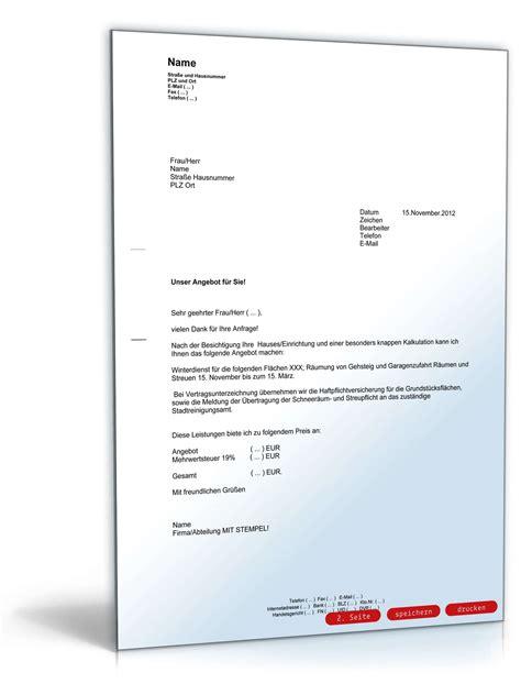 Angebot Muster Brief Angebot Dienstleistung Vorlage Zum