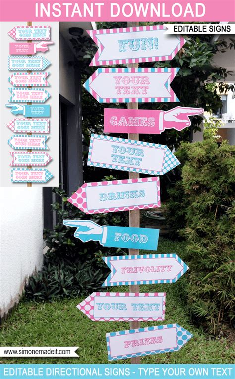 Pink Carnival Directional Signs Arrows Circus Or Carnival Party Direction Signs Template