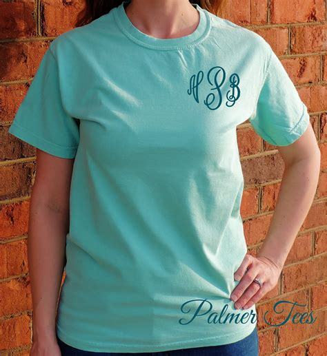 comfort colors sleeve monogram t shirt embroidered