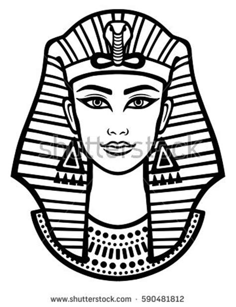 animation portrait beautiful egyptian woman horned stock
