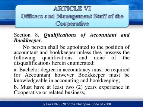 section 8 qualification officers and management staff of the cooperative