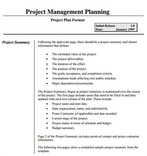 15 Sle Project Plans Sle Templates Plan Template For Managers