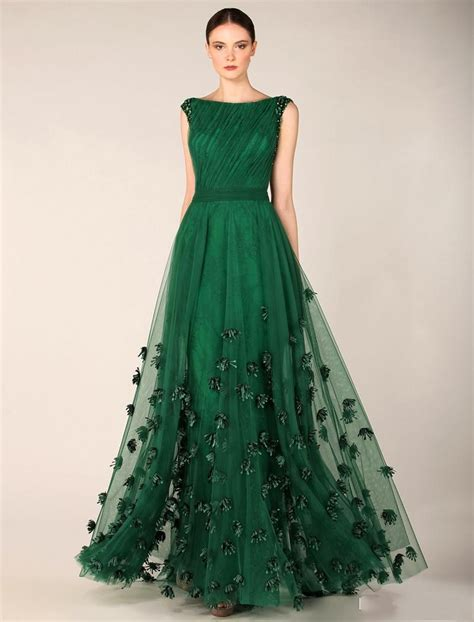 beaded green dress free shipping modest boat neck forest green evening