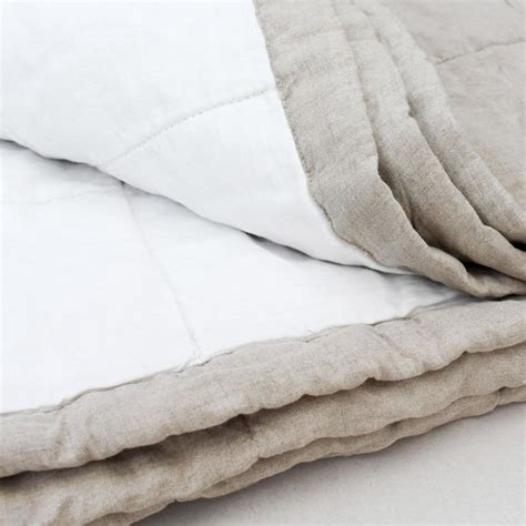 White Quilted Bed Throw by Trine Quilted Reversible Linen Bed Throw