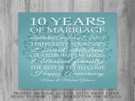 10 Year Anniversary Gift Ideas For by 10yr Wedding Anniversary Gift Gift Ftempo